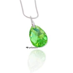 Zawieszka z kryształkiem Swarovski Crystals migdał Peridot AB srebrna
