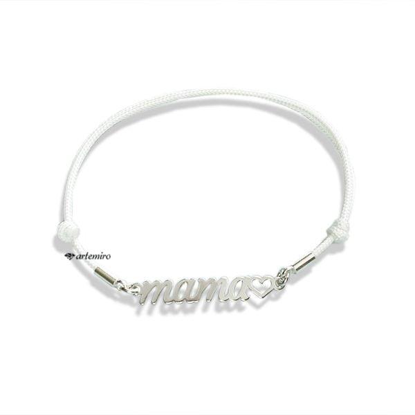 Biała bransoletka sznurkowa napis MAMA z serduszkiem
