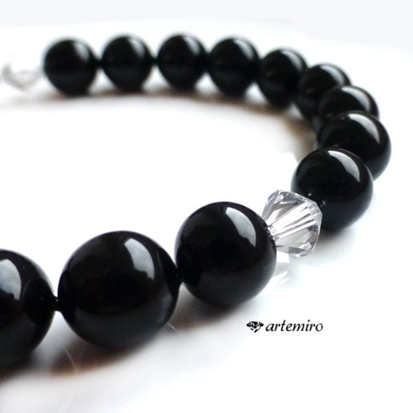 Bransoletka Shell Pearls czarne z kryształkiem