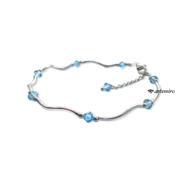 Bransoletka Swarovski bicone Aquamarine srebrna