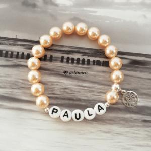 Bransoletka Swarovski Crystal Peach Pearl z imieniem