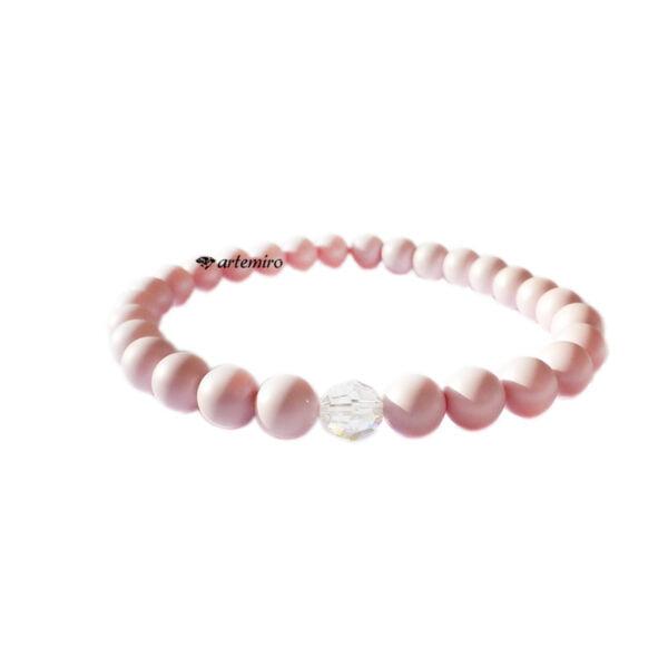 Bransoletka Swarovski Pearl Pastel Rose z kryształkiem