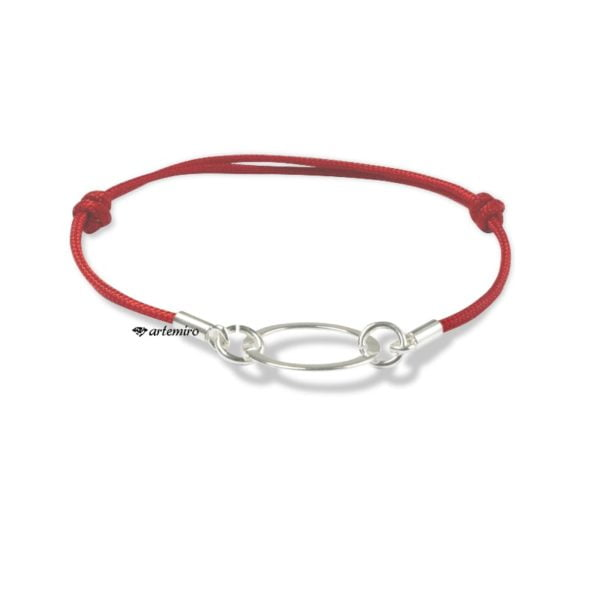 czerwona bransoletka sznurkowa srebrna z kolkiem