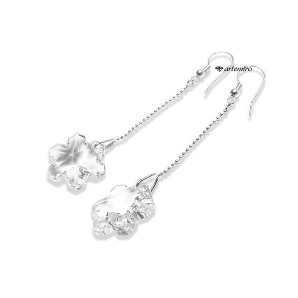 Długie srebrne kolczyki śnieżynki Swarovski Crystal