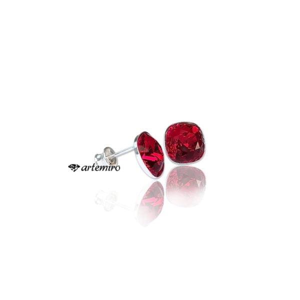 czerwone kolczyki sztyfty wkrętki swarovski srebrne