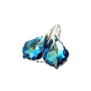 Kolczyki Swarovski Baroque Bermuda Blue srebrne