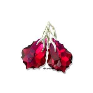 Kolczyki Swarovski Baroque Ruby AB srebrne
