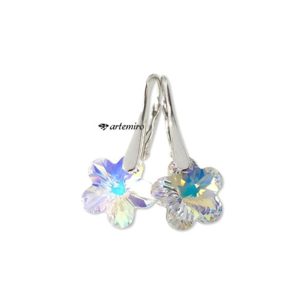 srebrne kolczyki swarovski kwiatek