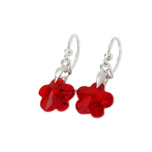 Czerwone kolczyki kwiatki swarovski srebrne