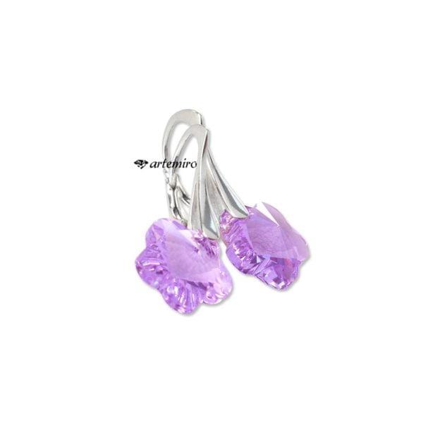 kolczyki fioletowe kwiatek swarovski srebrne
