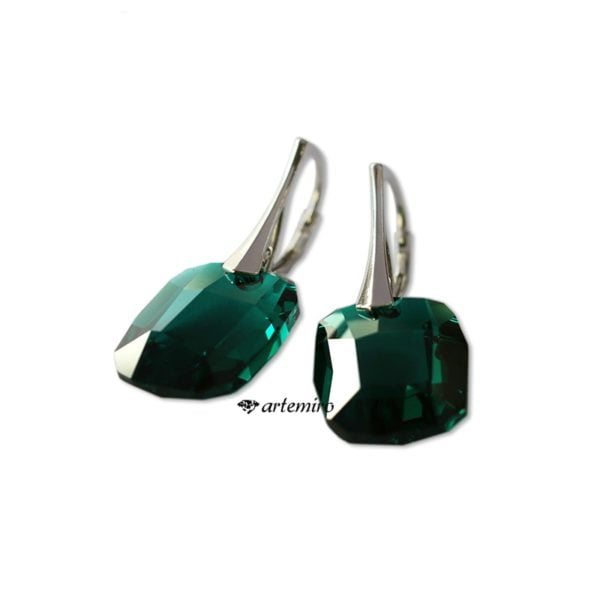 srebrne kolczyki swarovski zielone butelkowa zieleń
