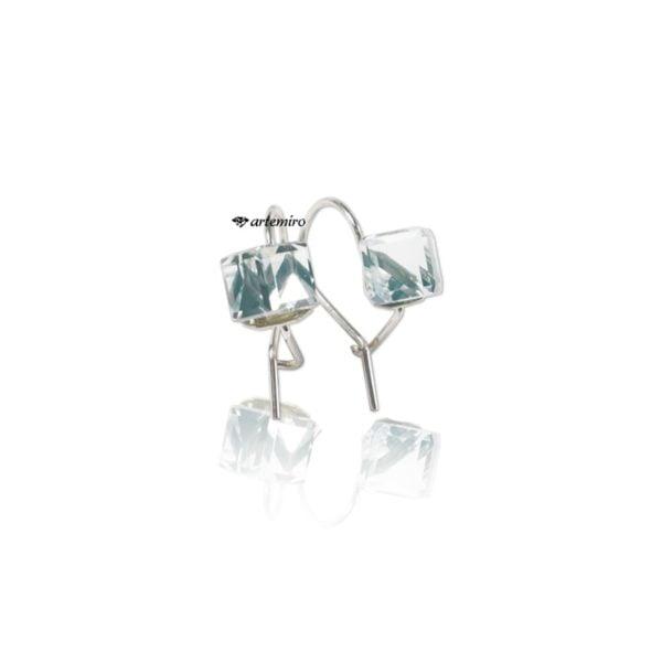 srebrne kolczyki swarovski kostki crystal cal