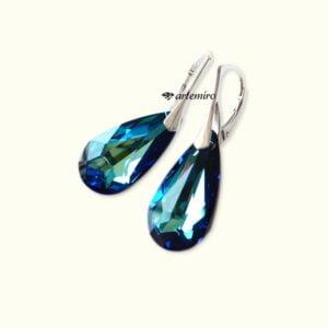 Kolczyki Swarovski łezka Bermuda Blue srebrne