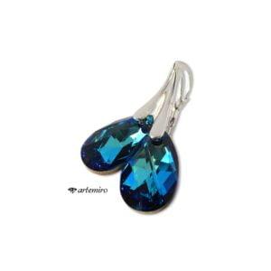 Komplet biżuterii srebrnej Swarovski. Niebieskie kolczyki i zawieszka migdał Bermuda Blue