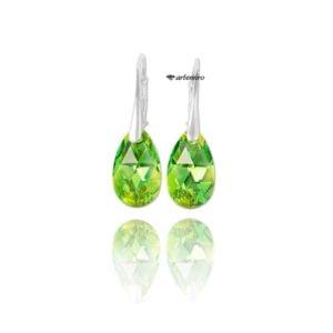zielone kolczyki swarovski srebrne łezka