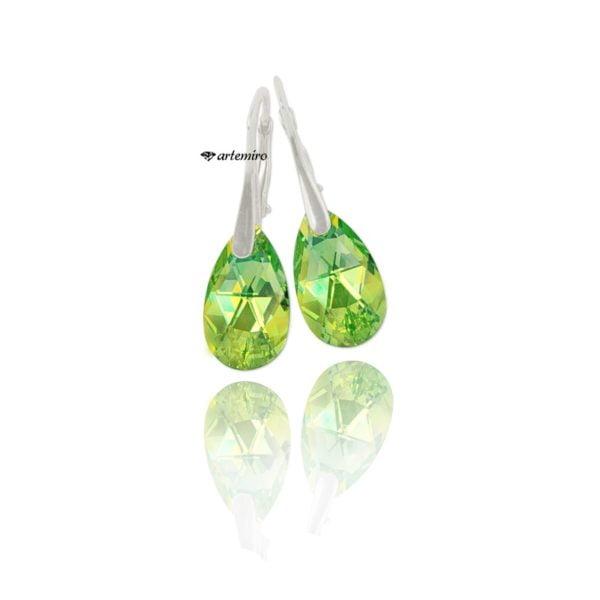 kolczyki wiszące zielone Swarovski srebrne