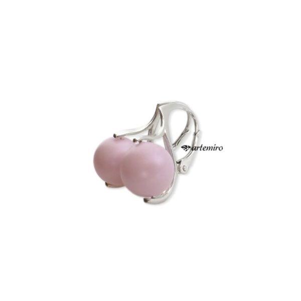 kolczyki swarovski perły różowe pastelowe kulki srebrne