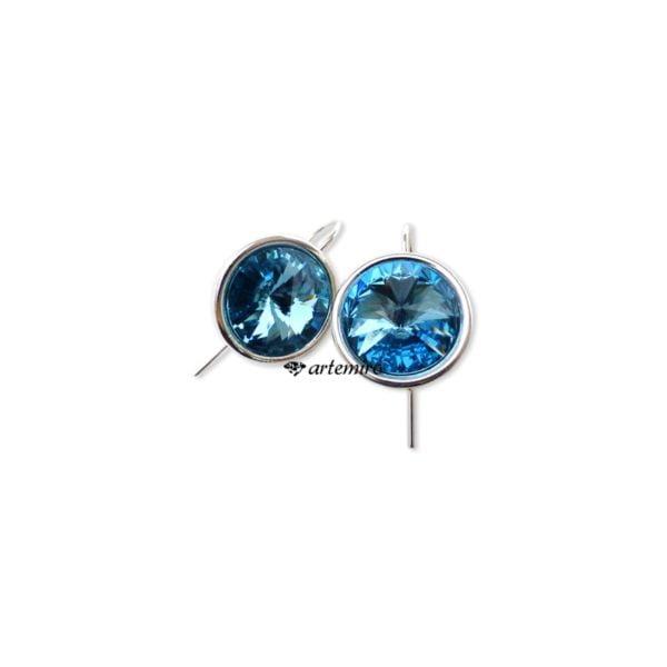 niebieskie kolczyki srebrne Swarovski kulki