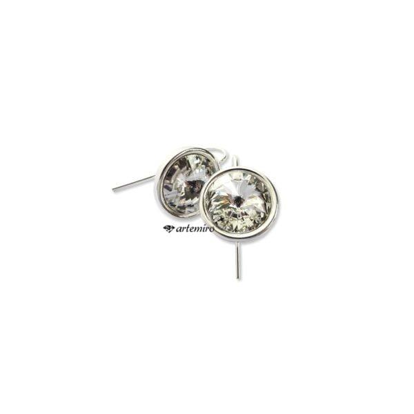 srebrne kolczyki swarovski krystaliczne koła crystal