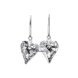 kolczyki swarovski serca serduszka srebrzyste srebrne