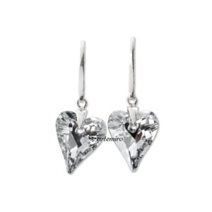 Kolczyki Swarovski serca Crystal CAL srebrne