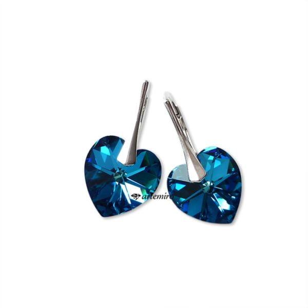 granatowe niebieskie kolczyki serca serduszka swarovski srebrne