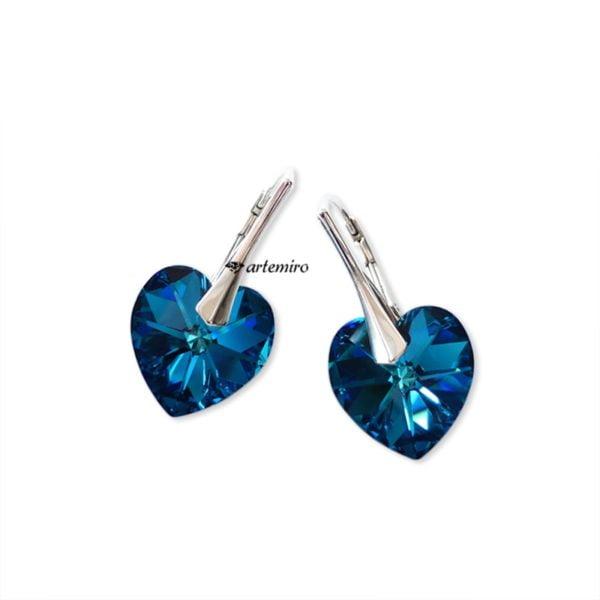 Kolczyki Swarovski serce Bermuda Blue srebrne
