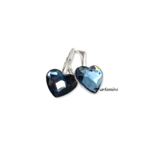 Niebieskie kolczyki Swarovski serca srebrne