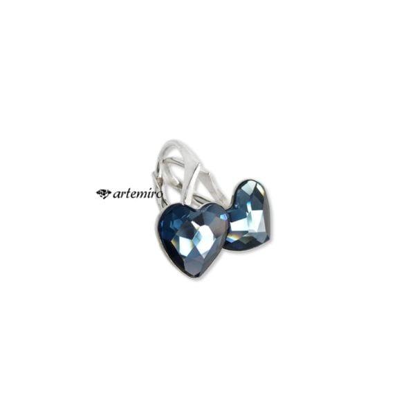 Srebrne kolczyki serca niebieskie Swarovski