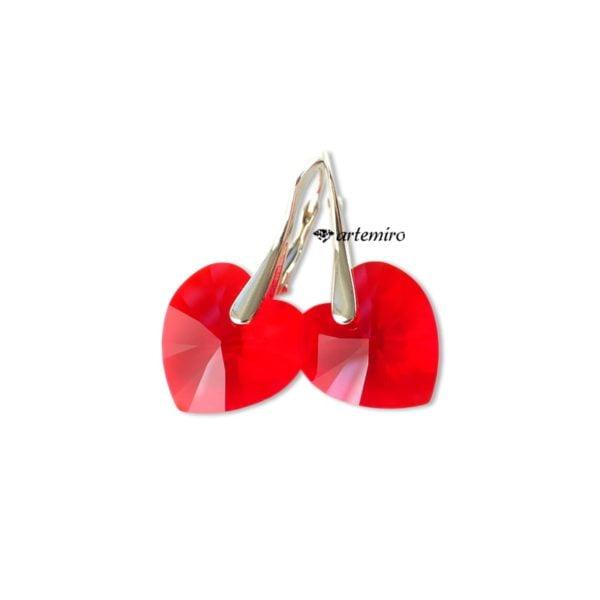 Czerwone kolczyki serca Swarovski Light Siam srebrne