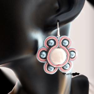 Kolczyki z ceramiką i perłami sutasz