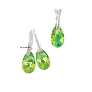 Komplet zielonej biżuterii srebrnej z kryształkami Swarovski migdał migdałki łezka