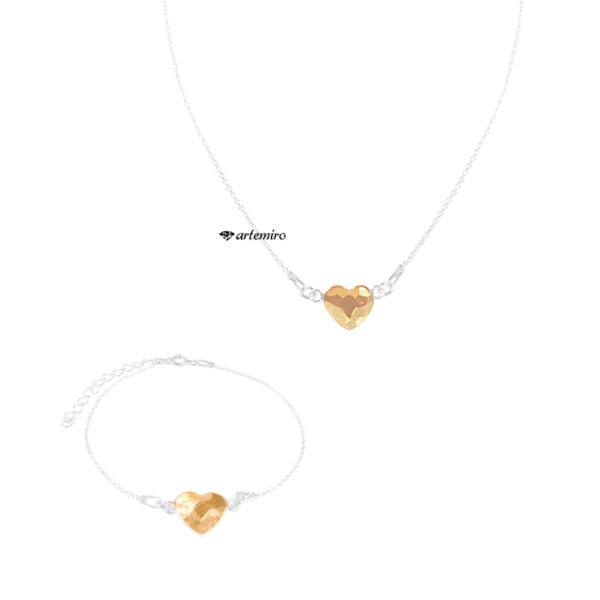 komplet biżuterii z kryształkiem Swarovski serce heart srebrna