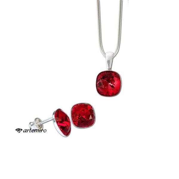 Komplet biżuterii srebrnej Swarovski. Czerwone kolczyki, zawieszka i łańcuszek square Siam