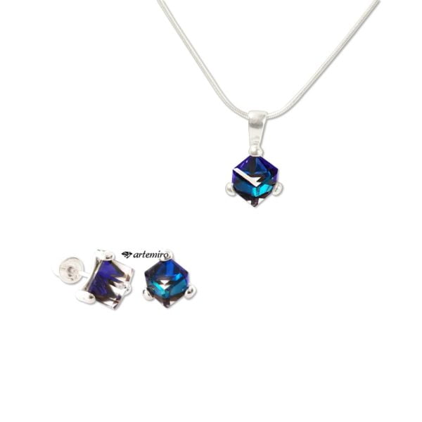 komplet biżuterii srebrnej Swarovski bermuda blue granatowe kolczyki zawieszka łańcuszek