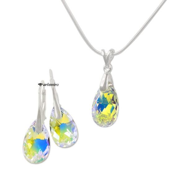Komplet biżuterii srebrnej z łańcuszkiem z kryształami Swarovski migdałki