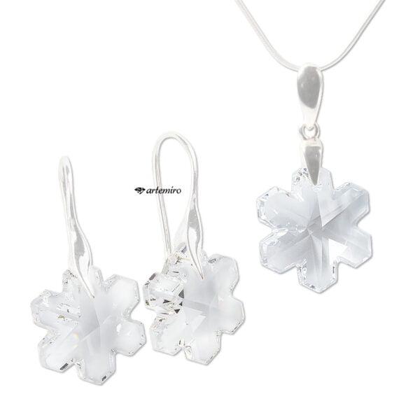 komplet srebrnej biżuterii swarovski kryształowe śnieżynki snowflake