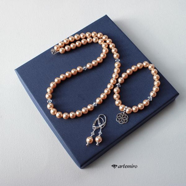 Komplet srebrnej biżuterii z pereł Swarovski pudrowy róż. Naszyjnik, bransoletka i kolczyki Crystal Peach Pearl