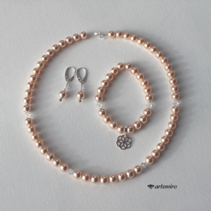 Bransoletka Swarovski Crystal Peach Pearl ze srebrną zawieszką