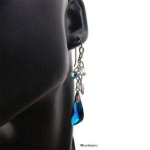 Niebieskie kolczyki skrzydła Swarovski Capri Blue srebrne