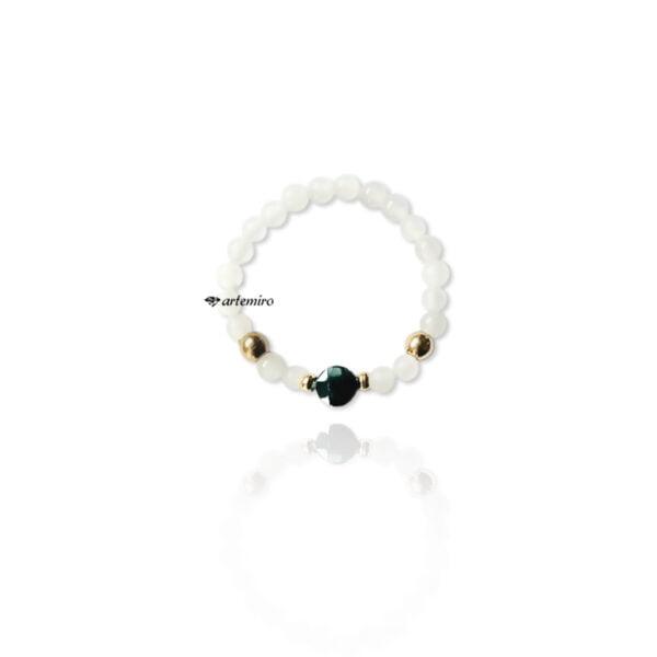 pierścionek elastyczny na gumce agat hematyt złoto