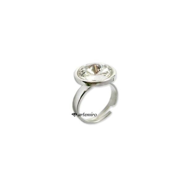 srebrny pierścionek swarovski kryształowy