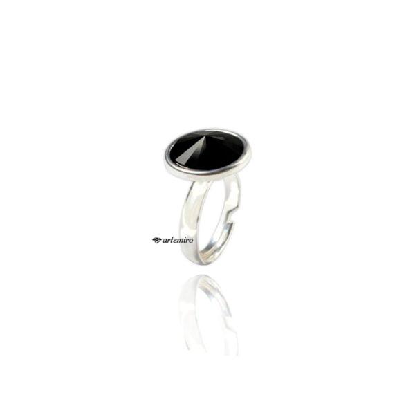 pierscionek srebrny swarovski czarny