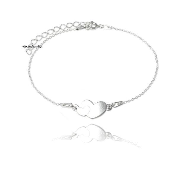 srebrna bransoletka celebrytka serca