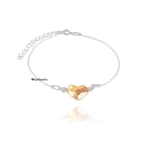 Srebrna bransoletka celebrytka z serduszkiem Swarovski Golden Shadow