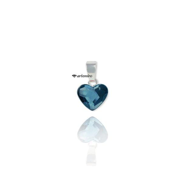 Delikatne serduszko Swarovski niebieskie srebrne