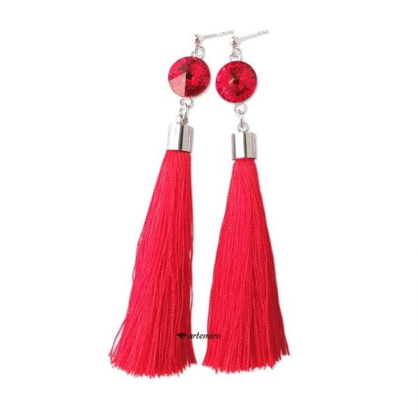 Srebrne kolczyki chwosty czerwone z kryształkiem Swarovski