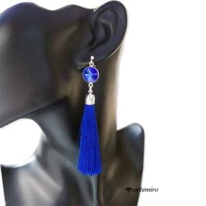 Srebrne kolczyki chwosty niebieskie szafirowe z kryształkiem Swarovski