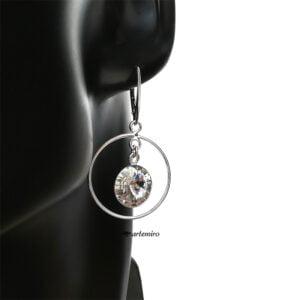 Srebrne kolczyki koła z kryształkiem Swarovski rivoli Crystal
