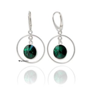 Srebrne kolczyki koła Swarovski rivoli Emerald